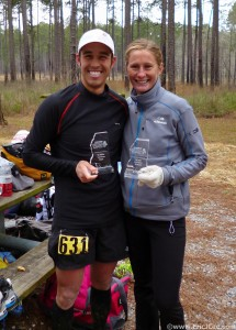 Kristel & I with our Awards for first in the 50k and 50mi respectively.