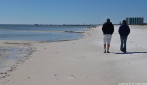 Recovery stroll along the white sand beaches near Biloxi, MS.