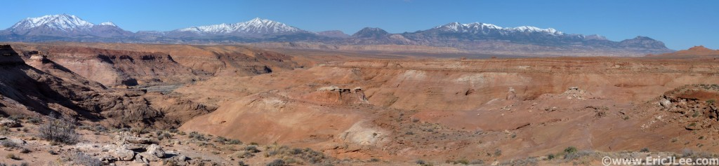 Panorama shot of Leprechaun Canyons and the Henry Mts.