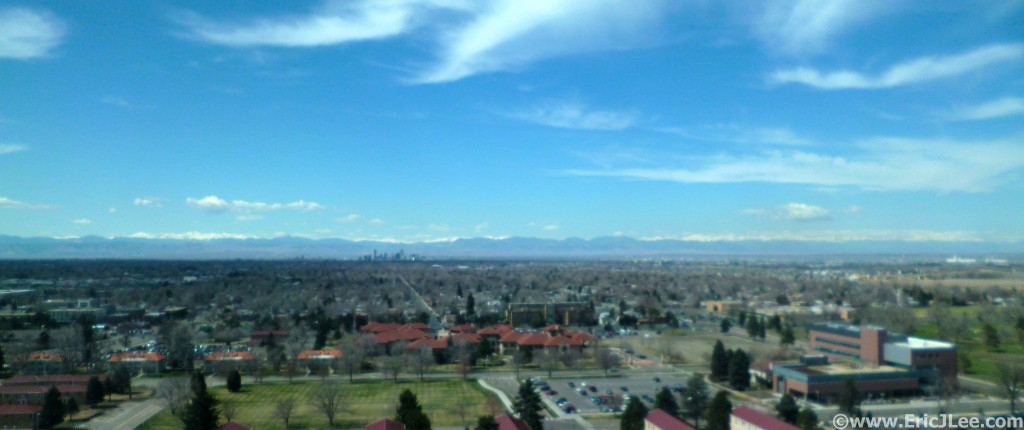 Staring out the lab window at downtown Denver and the Rocky Mountains in the distance. 4/4/13.