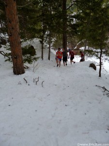 Amanda, Adelaide, Jason and Kevin heading up a snow covered Bear Canyon on 4/20/13.