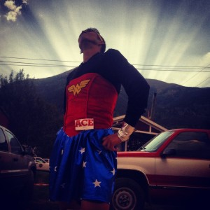 Rocking Dana's Wonder Woman outfit at the 2012 Leadville100 as a Pacer. Photo by Kelly Chadwick.