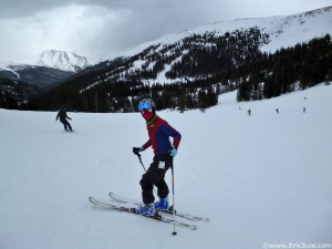 Me as Spidey shredding some corduroy at Loveland on closing day, 5/5/13.