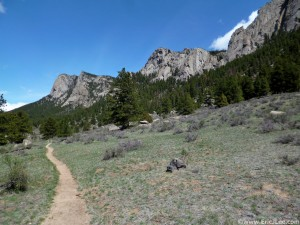 Trail leading around the front side of Lumpy Ridge in RMNP.