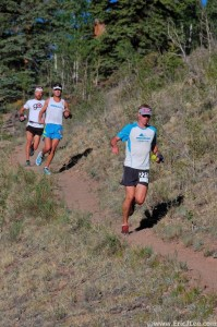 Lead pack at the San Juan Solstice 50 mi. Dakota would take the win in course record time (7:35)