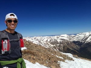 Me on the summit of Mt Elbert 14433ft, calm and sunny day, 6/2/13. Photo by Basit Mustafa.