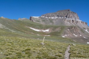 The trail leading up to Uncompahgre
