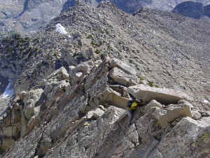 Me climbing some class 3/4 slab on Giraud Peak in the Sierras, circa 2006.