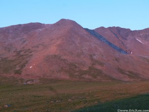 The final summit push to Mt Evans in the early morning light.