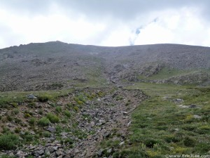 Ascending Cristo Couloir toward Quandary Peak.