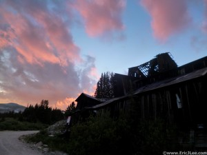 Sunset over the Leavick mining site near Sherman.