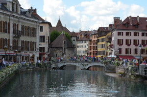 Relaxing along the river in Old Town Annecy, 8/26/13.