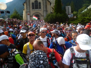 Chris (yellow) amongst the throngs at the start of the UTMB.