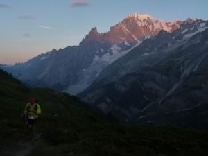 Sunrise on the Mont Blanc massif near Refugio Bertone.