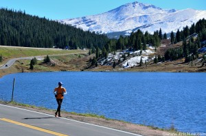 Jason running the long paved road section over Vail Pass, at least the scenery was nice, 9/28/13.