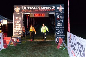 Jason and Kate crossing the finish line at the UROC 100km, just under 17h.