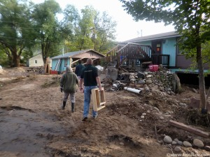 Arriving at Ed's home in Lyons, CO lots of debris and cleanup to be done, 9/29/13.
