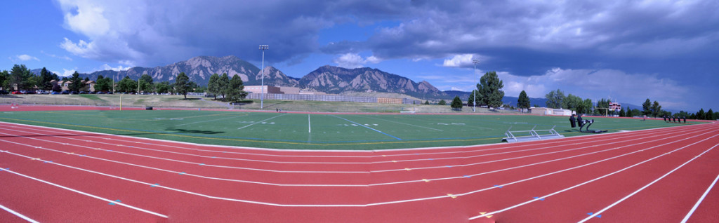 My neighborhood track at Fairview Highschool.  At least the view is nice. Photo from www.coloradofilm.org