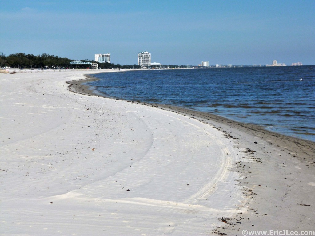 Running the soft white sand beaches of the Gulf Coast near Gulfport.