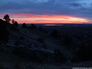 Sunrise from the lower flanks of Mt Sanitas, end of Lap #1.