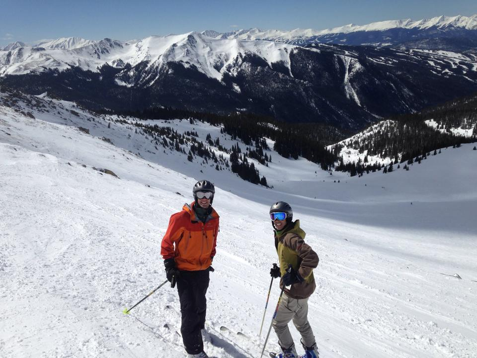 Jason and I taking a break while skiing at Abasin on 3/29 (Kate behind the camera)