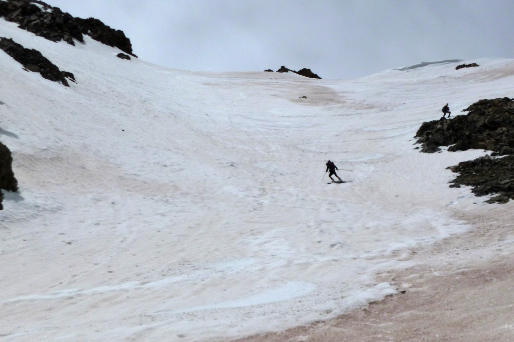 Dana skiing the North Couloirs on Missouri Mt, 6/15/14.