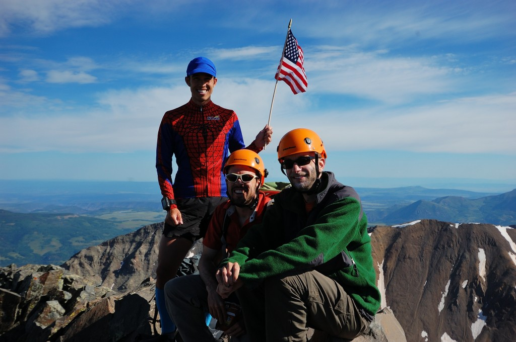 On the summit of El Diente, my 58th and final CO 14er with Ben and Bruce. 7/4/14.