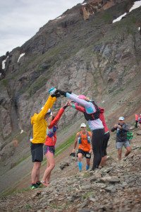 Welcoming committee of Rocky Mountain Runners atop Grant Swamp Pass. Photo by Ryan Smith.