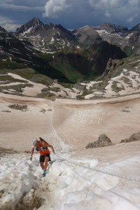 Descending the steep rotten snow off Virginius Pass. Photo by Megan Finnesy.
