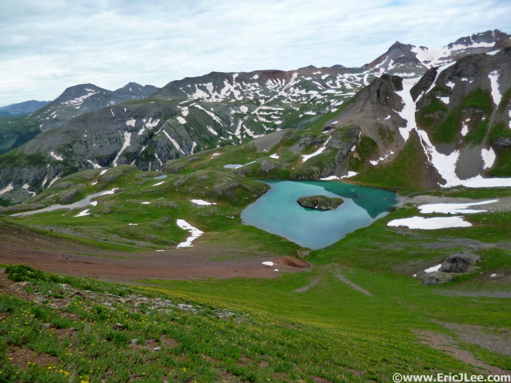 Island Lake with Ice Lake Basin in the background, nearing Grant Swamp Pass.