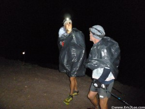 Billy and Ben showing off the latest running fashion on Engineer Pass, garbage bags.