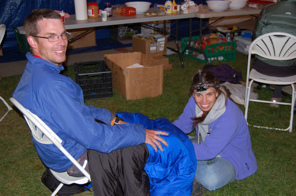 Pacer and wife offering a post-race massage to a successful Leadville 100 finisher.