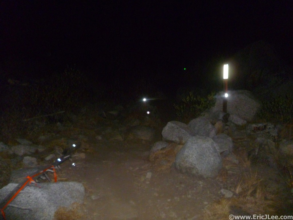 Hey look, course markings! A good headlamp is very helpful, 2012 IMTUF 100.