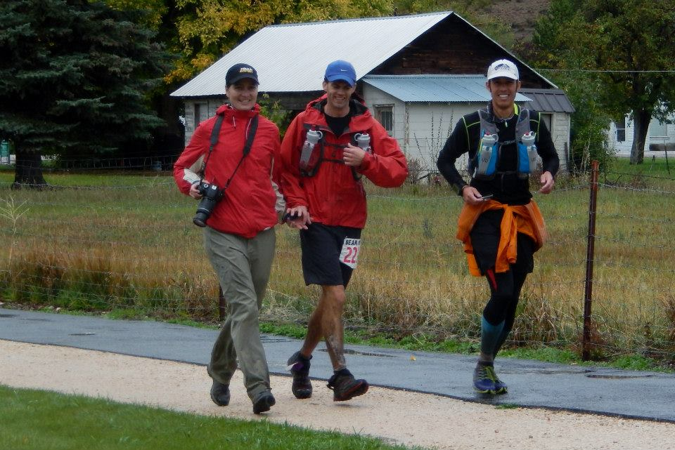 Meggan, Jason and I jogging into the finish of the Bear 100. Photo by Karen Oliver.