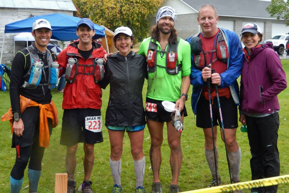 Runners and pacers relishing in a hard earned finish. Just awaiting Mark (who finished). Photo by Karen Oliver.