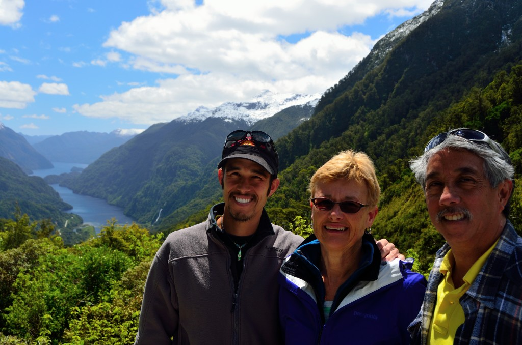 My parents and I before our amazing overnight boat cruise on Doubtful Sound in the Fiordlands region of New Zealand.