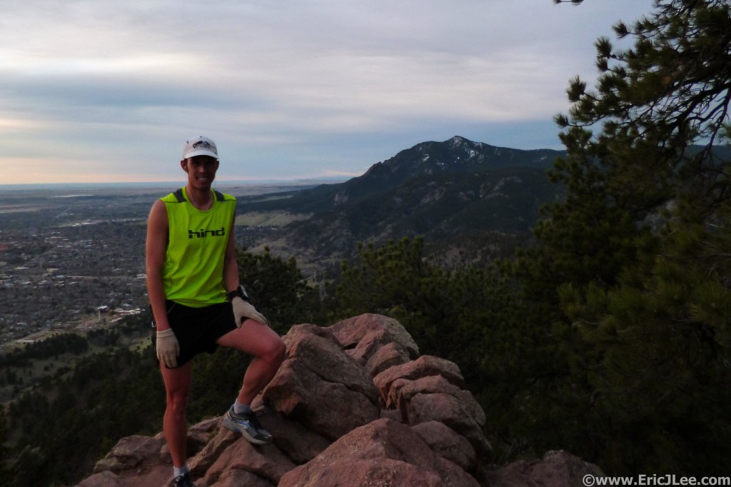 First summit of 11 on the day of Mt Sanitas, training with the RMR.