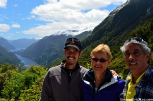 My parents and I pre-Doubtful Sound cruise, sunshine in Fiordlands.