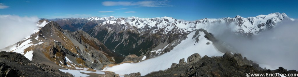 The view from Avalanche Peak near Arthur's Pass.