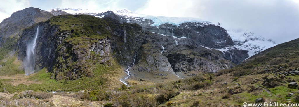 Rob Roy Glacier Valley, massive cliffs, 1000ft waterfalls, hanging glaciers, wow.