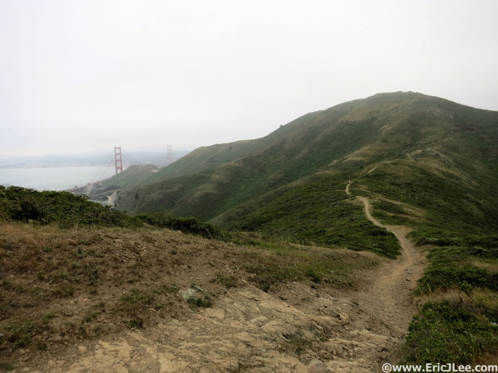 Running the trail with views of the Golden Gate Bridge through the fog.