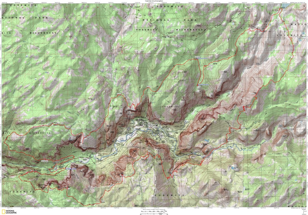 The actual GPS track from my loop around the Yosemite Valley.