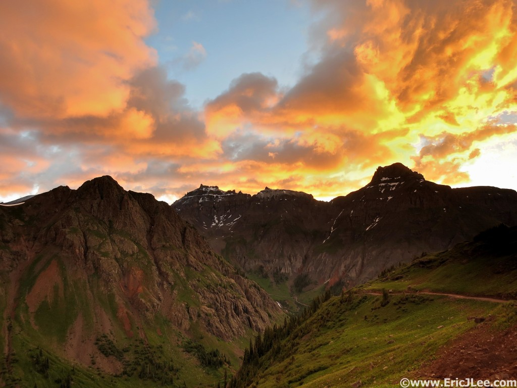 Sunrise near Virginius while pacing Jason Oliver at the 2015 Hardrock 100