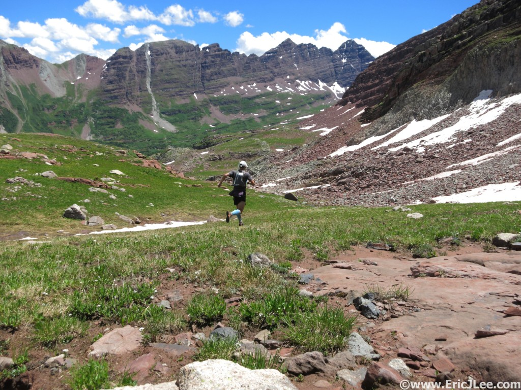 Headed toward the Maroon Bells on the shortcut from Snowmass, 7/25/15.