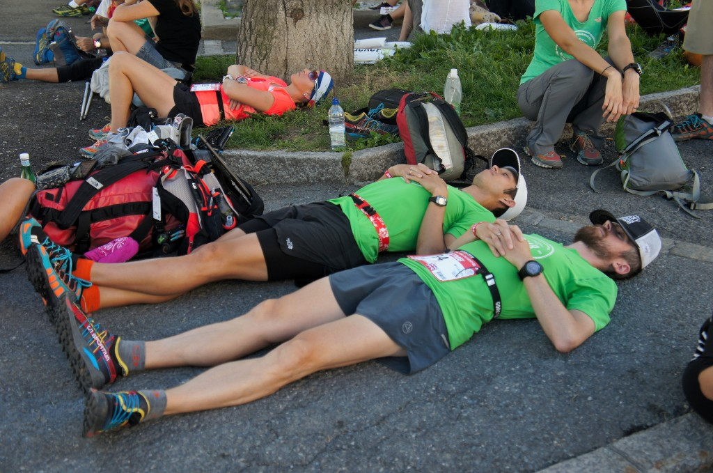 Team Colorado taking a little siesta before the afternoon start of UTMB. Photo by Kerwin Lee