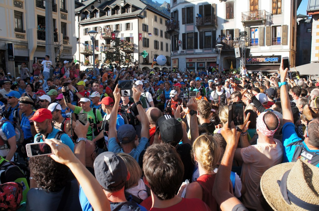Start of the 2015 UTMB, runners streaming out of Chamonix. Photo by Kerwin Lee.