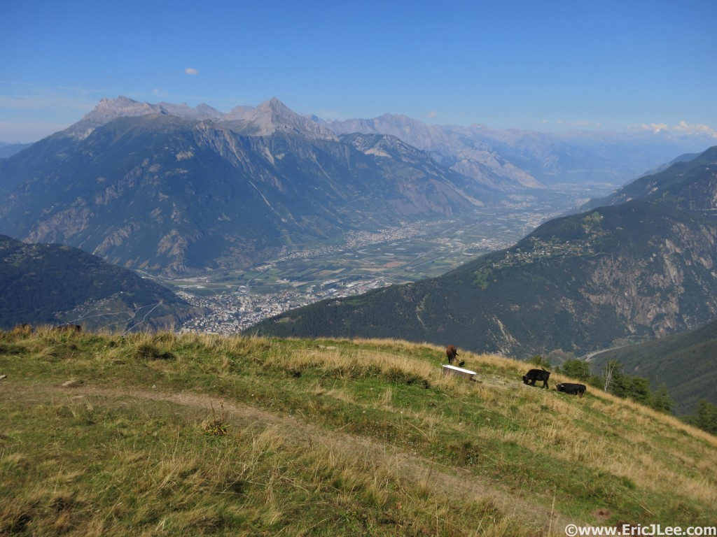 Finally at the top of the climb to La Giete, looking down into the Martigny Valley.