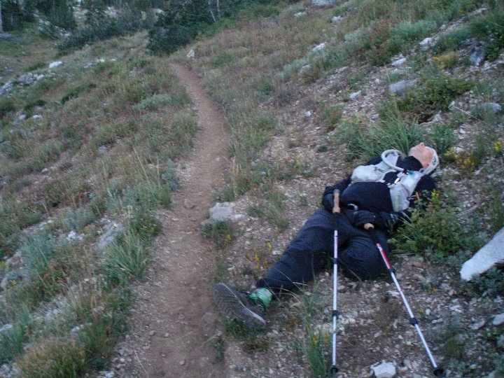 When you need a nap, you need a nap. 2010 Wasatch 100 Pete decided 500 yards from the Ant Knoll AS he was sleeping, 10 seconds later he was snoring.