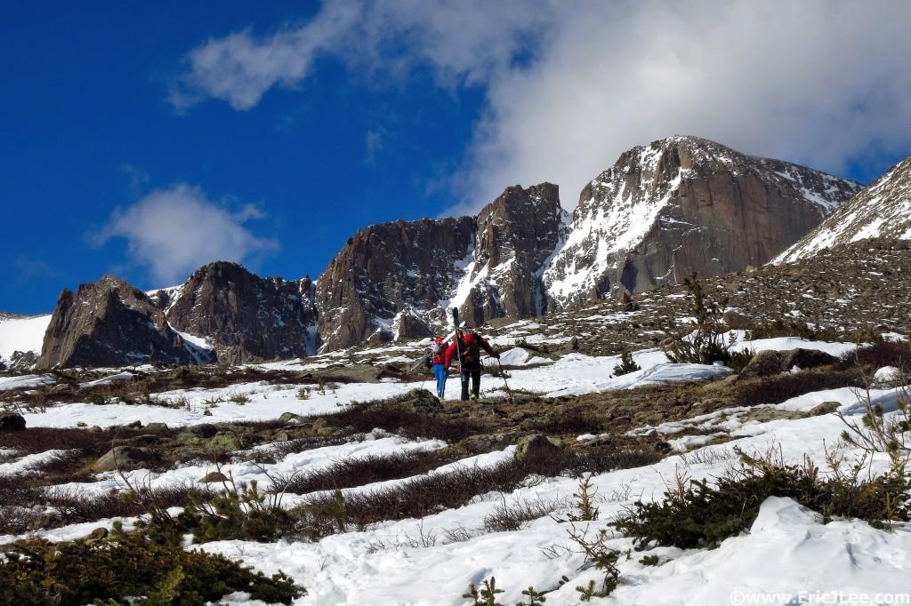 Headed toward Longs Peak, 4/9/16.