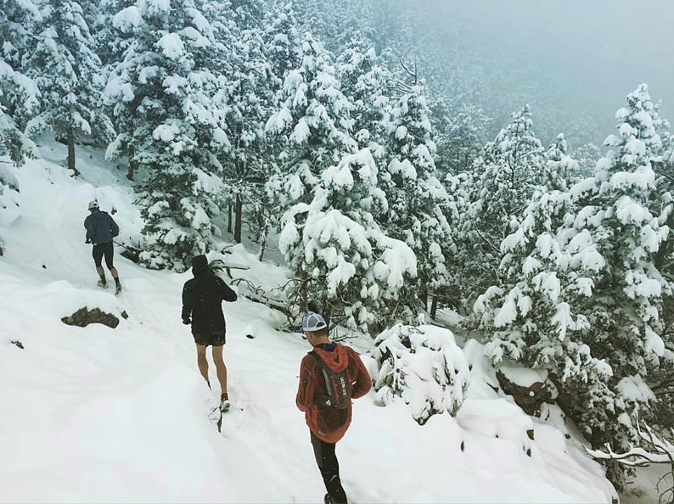 One of the few 'runnable' sections on the way up Green Mountain, it was a tid bit snowy. Photo by Andy Gisler.
